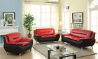 Newfangled Style Contemporary Bonded Leather Sofa & Loveseat 3PC Set Living Room