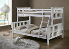 Triple Bunk Bed White Solid Wooden 3 Sleeper Bed Frame Double & Single Size