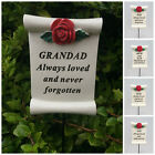 Red Rose Scroll Memorial Stick Remembrance Plaque Tribute Spike Grave Side Stake
