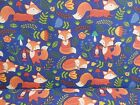 Cheap! POLYCOTTON FABRIC CRAFT WOODLAND RED FOX Navy Blue (1/2) METRE MATERIAL