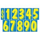 7 1/2 Inch Blue & Yellow Numbers Windshield Pricing Stickers Car Dealer You Pick