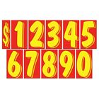 7 1/2 Inch Red & Yellow Numbers Windshield Pricing Stickers Car Dealer You Pick
