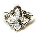 (SIZE 8) Radiant Marquise-Cut CZ STONES RING Marcasite .925 STERLING SILVER