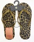 Ladies Flip Flops Thongs Beach Swim Shoes Sandals Gold with Black Animal Print