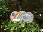 Personalised Rainbow Bridge Stone Memorial for Dog / Pet with Paw Prints