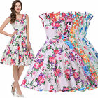 Summer Floral Vintage Retro Swing 50s 60s pinup Prom Housewife Picnic Dress.
