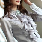 Womens Stand Collar Long Sleeve Chiffon Blend Blouse Tops Slim T shirts OL Size
