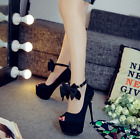 Womens Bowknot Ankle Strap High Heel Stilettos Platform Shoes Pumps OL Prom New