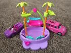Polly Pockets Toy Lot, 2 Cars & Pool Set w/Palm Trees
