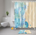 72x72'' Shells starfish Bathroom Waterproof Fabric Shower Curtain & 12 Hooks