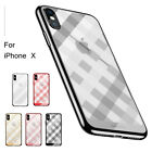 Plaid Pattern Thin Slim Soft TPU Cover Back Shockproof Case Fr iPhone X 7/8 Plus