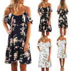Plus Size Womens Holiday Floral Ladies Off Shoulder Summer Beach Dress Size 6-20