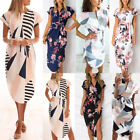 UK Plus Size Womens V Neck Floral Holiday Dresses Ladies Summer Beach Dress 6-20
