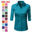 ti nspire cx for sale - [FINAL SALE]Doublju Womens 3/4 Sleeve Cotton Button Down Collared Shirt