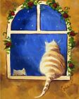 Yellow Gold Tabby Kitty Cats in Red Rose Garden Window  Quality Wall Art Print