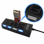 4 Port USB Splitter 2.0/3.0 Hub On/Off Switches + AC Power Adapter Cable For PC