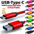 Lot Nylon Braided Rope USB-C Type-C 3.1 Data Sync Charger Charging Cable Cord a