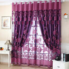 S Window Blackout Tulle Curtain Floral Voile Living Room Tapestry Panel Luxury US