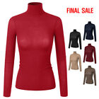 [FINAL SALE]Doublju Womens Long Sleeve Thin Ribbed Knit Turtleneck Top