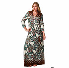 Teal Brown PAISLEY MAXI DRESS Faux Wrap Full Length Long TRAVEL Cruise Stretch