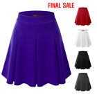 [FINAL SALE]Doublju Womens Elastic Waist Flared Mini Skater Skirt