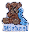Teddy Bear  Blanket Embroidered Add Your Name Iron-On Or Sew Sticker White Felt