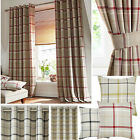 Hudson Woven Check Jacquard Ring Top Curtains (pair Of) - Choice Of Colours
