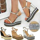 Womens Ladies Wedge High Heels Diamante Strappy Platforms Sparkly New Shoes Size