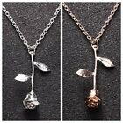 Silver or ROSE GOLD Women's Fashion Jewelry 3D Rose Gold Flower Necklace