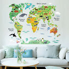 World Map Wall Sticker Decal Vinyl Animal Cartoon Wall Stick