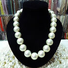 """Rare Huge 8mm 10mm 12mm 14mm 20mm South Sea White Shell Pearl Necklace Aaa 18"""""""
