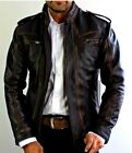 cheap leather jacket - Mens Biker Motorcycle Vintage Cafe Racer Distressed Black Real Leather Jacket