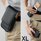 for XL Phones - Black VERTICAL Leather Pouch Holder Belt Clip Card Pocket Case