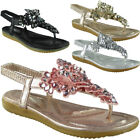 Womens Ladies Elastic Strap Comfy Flat Bling Summer Peeptoe Sandals Shoes Size