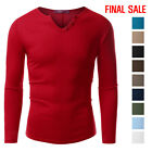 [FINAL SALE]Doublju Mens Long Sleeve Solid Button Placket Slim Fit T-Shirt
