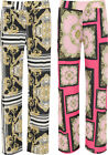Plus Size Ladies Baroque Scarf Print Wide Flared Leg Palazzo Trousers Pants
