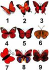 Red Butterfly Small or Large Sticky White Paper Stickers Labels NEW