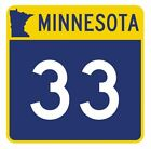 Minnesota State Highway 33 Sticker Decal R4728 Highway Route Sign