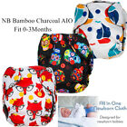 1 Pc New Born Bamboo Charcoal AIO Reusable Waterproof Cloth Diaper 0-3 Months