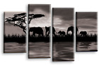 ELEPHANT CANVAS WALL ART PICTURE GREY BLACK WHITE REFLECTION SPLIT PANEL
