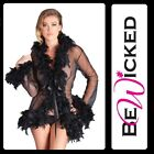 Kimono corto Nero trasparente Feather Trim Be Wicked Sexy Lingerie Intimo Toys