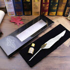 Feather Quill Metal Nib Brown Dip Pen Writing Ink Set With Box Gift 2 Colors