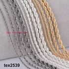 "Rope 18K Gold, Sliver, or Black plated Chain Necklace 20 & 24"" 3&4mm OVERSTOCKED"