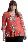 New Womens Plus Size Top Ladies Floral Frill Blouse Peplum Style Summer Tunic