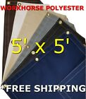 5' x 5' Workhorse Polyester Waterproof Breathable Canvas Tarp