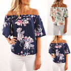 Plus Size Womens Ruffle Off Shoulder Ladies Casual Summer Tops T-Shirt Blouse