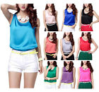 Women's Satin Crewneck Sleeveless Shirts Blouses Casual Fit Camisole Tank Tops