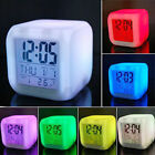 Digital Snooze7 Color LED Change Glowing Alarm Clock Backlight Relieve Stress t9