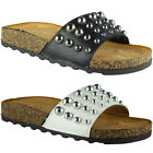 Womens Ladies Comfy Studded Slip On New Sliders Flats Shoes Slides Slippers Size
