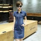 thin denim fabric - New Fashion Short Sleeve Thin Denim Fabric Plus Size Dress for Women